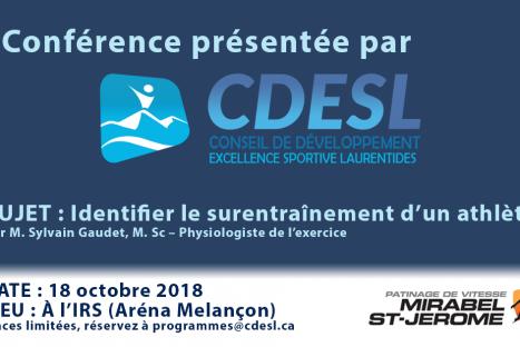 Conférence : Identifier le surentraînement d'un athlète