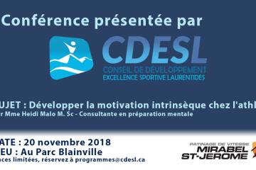 Conférence : Développer la motivation intrinsèque chez l'athlète